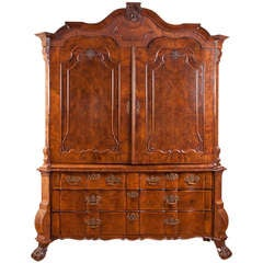 Dutch Kast or Linen Press in Walnut with Inlays, circa 1780