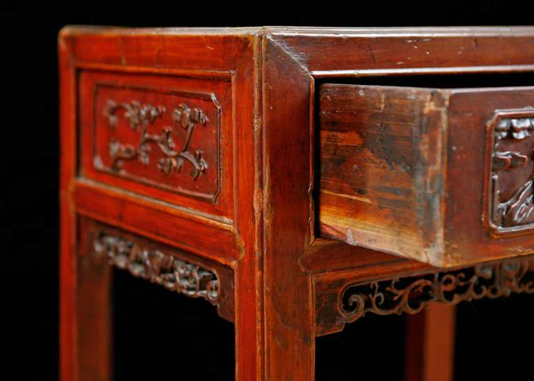 18th Century Qing Table in Elm with Original Cinnabar Lacquer, China, circa 1790 For Sale