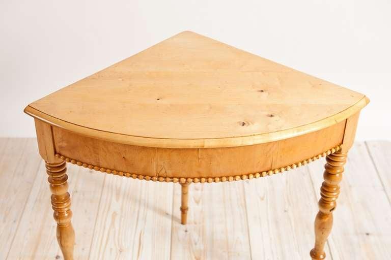 Polished Swedish Karl Johan Corner Table in Birch, circa 1825 For Sale