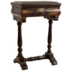 Antique Chinoiserie Table w/ Painted Landscape Scenes over Black Lacquered Wood