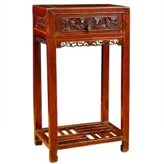 Qing Table in Elm with Original Cinnabar Lacquer, China, circa 1790