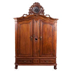 Rare Flemish Armoire in Oak with Case Clock, circa 1750