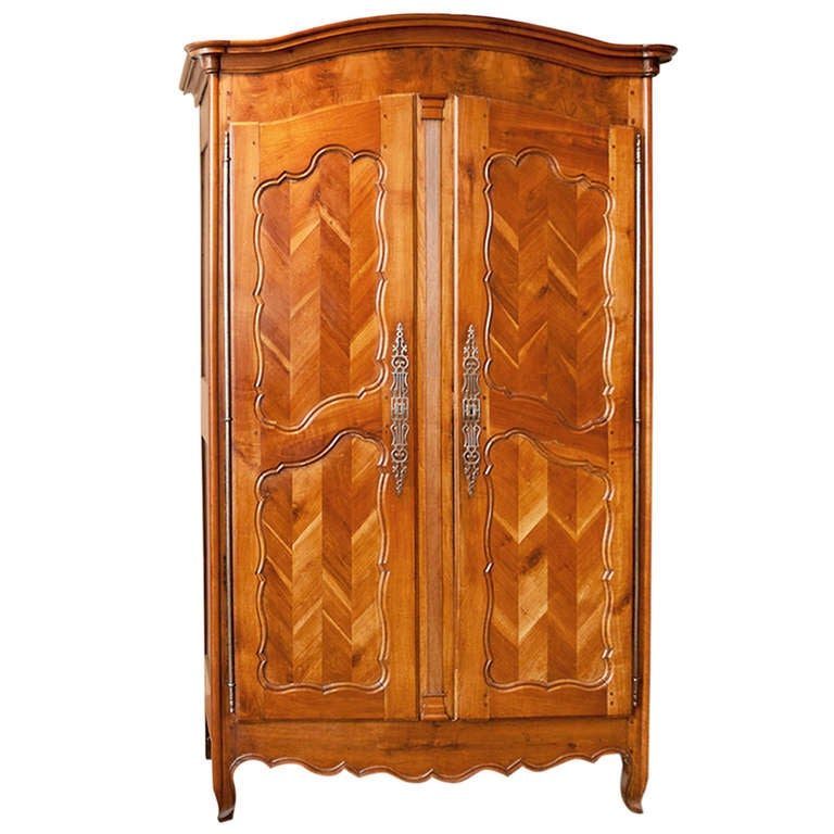 French Louis XV Armoire in Cherry with Chevron Panels, circa 1850