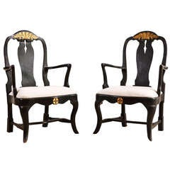 Pair of Antique 18th Century Ebonized Swedish Armchairs