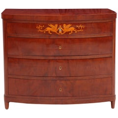 Danish Empire Bow Front Mahogany Chest of Drawers with Marquetry, circa 1810