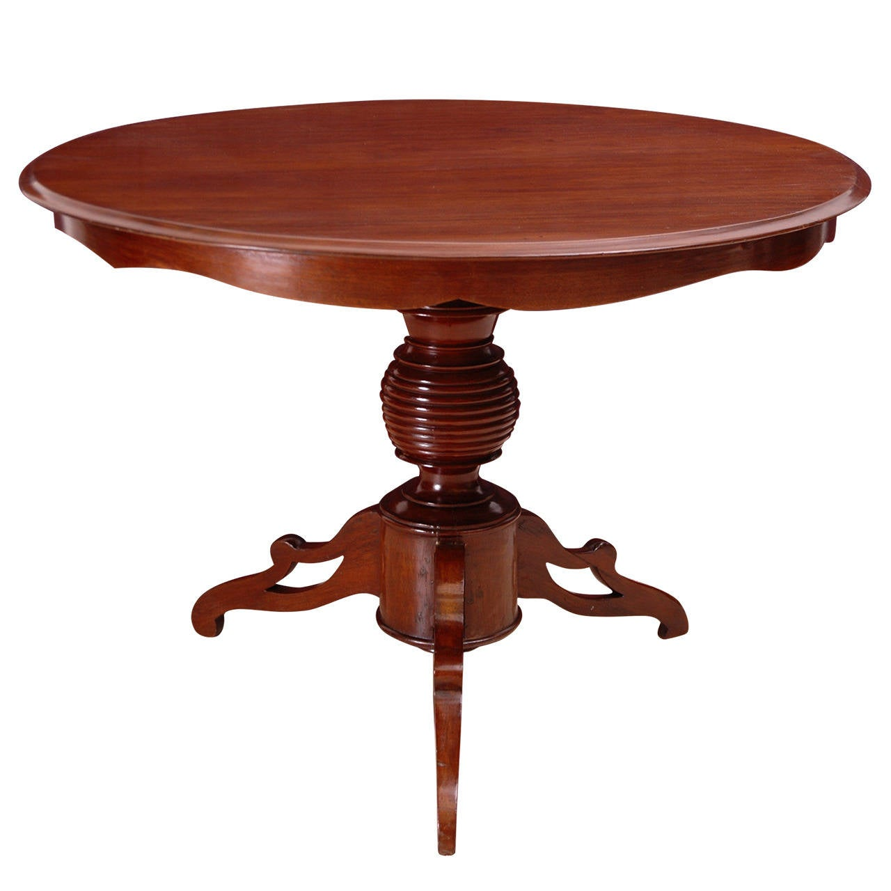 Round Pedestal Table In Mahogany With Tripod Base Dutch