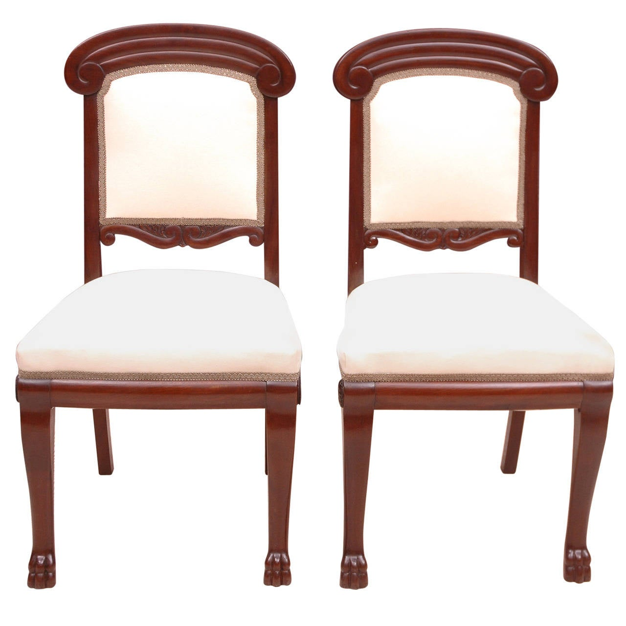 1910 American Furniture Styles: Pair Of Baltic Empire-Style Chairs In Mahogany With