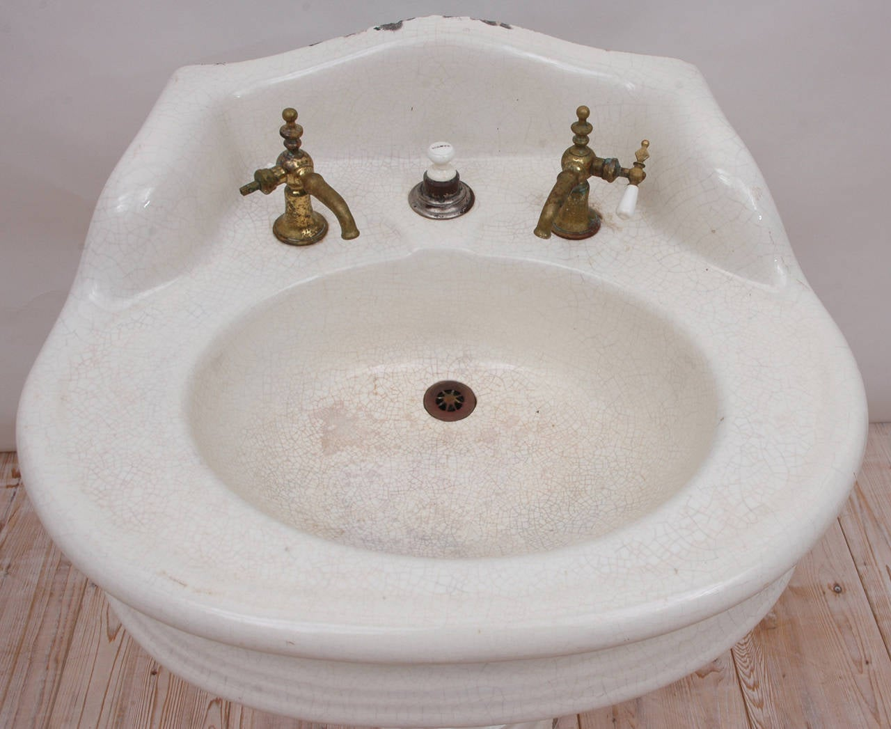 Victorian Pedestal Sink in Cast Iron with Porcelain and Old Brass ...