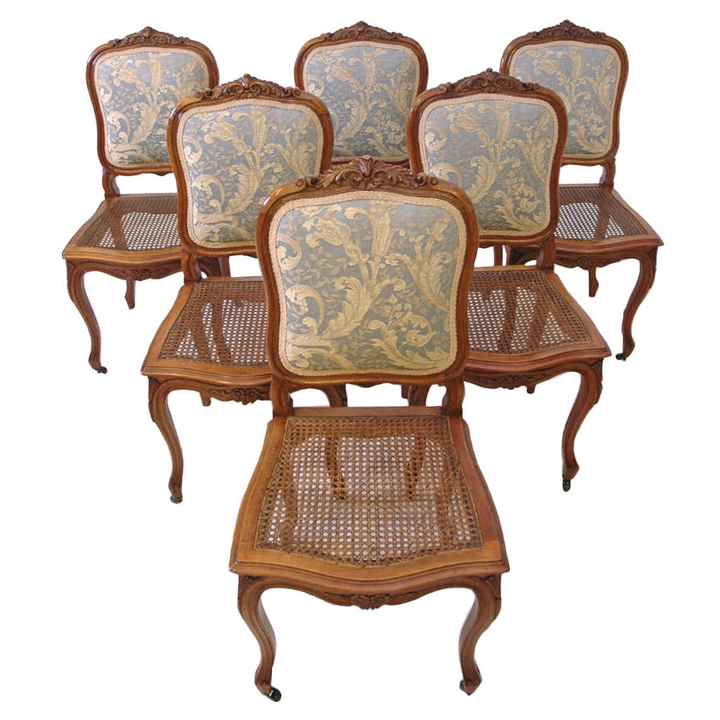 Louis xv dining chair - Set Of Six French 19th Century Louis Xv Style Dining Chairs In Walnut C