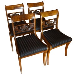 Set of Four Antique Regency Saber Leg Dining Chairs in Mahogany, circa 1830