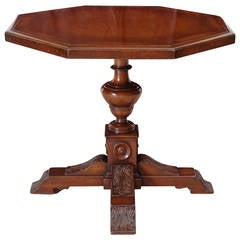 Neo-Renaissance Octagonal Table in Walnut with Acanthus Carved Center Pedestal