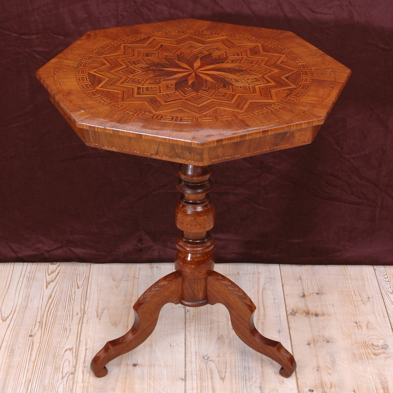 Italian Octagonal Walnut Marquetry Table With Tripod