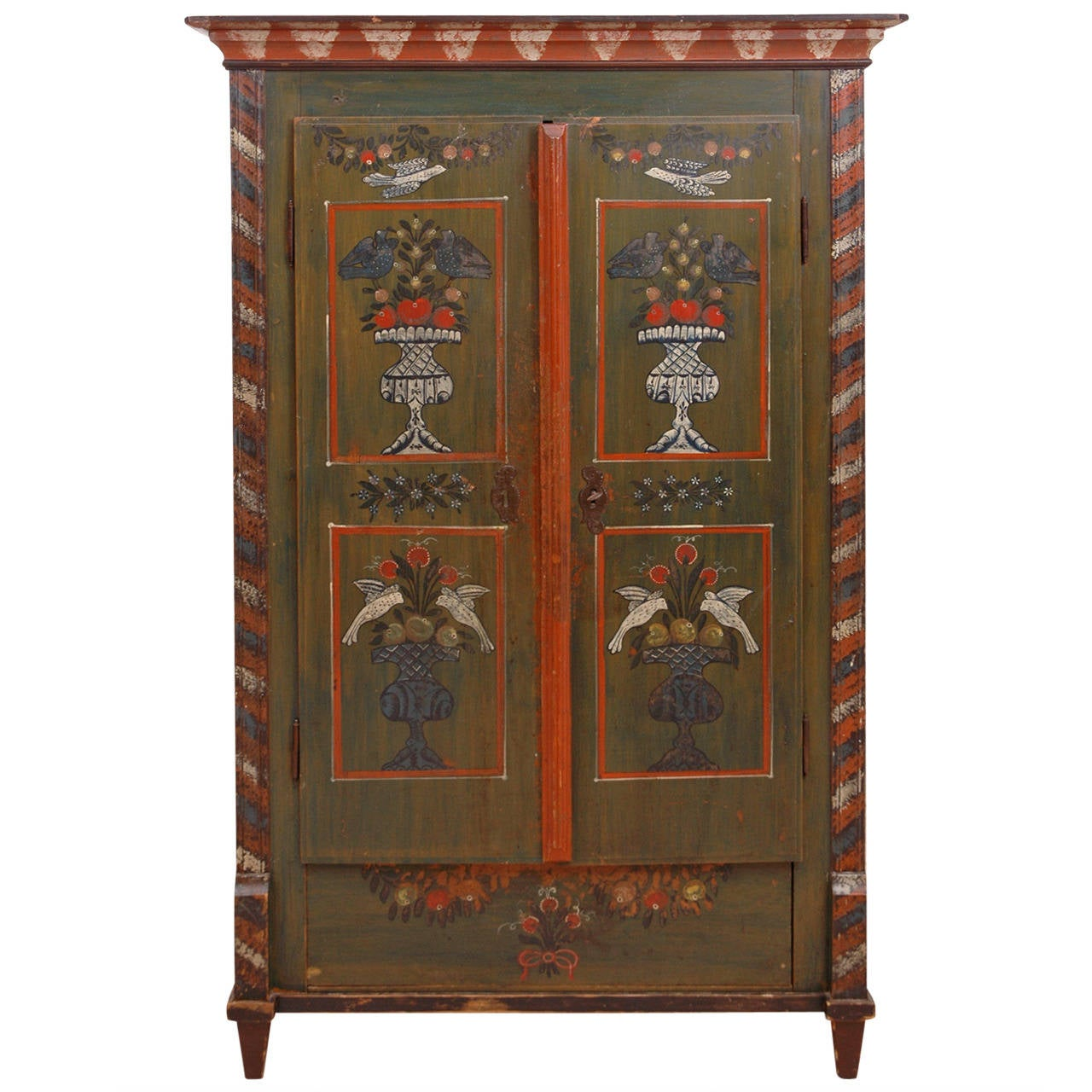18th Century Painted Dower Armoire From Alsace Lorraine At 1stdibs