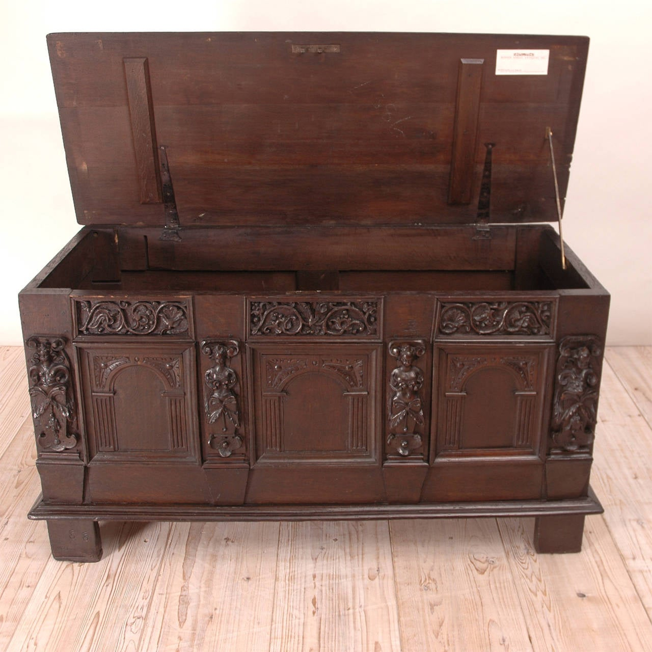 19th Century Neo-Renaissance Oak Blanket Chest For Sale