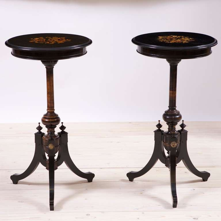 Pair of French Napoleon III Ebonized Side Tables with Marquetry, circa 1865 2
