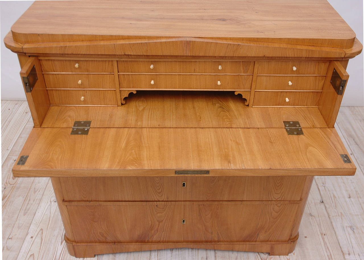 North German Biedermeier Ash Chest With Three Drawers And Fold Down Secretary For