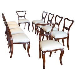 Set of Ten Comfortable Baltic Mahogany Dining Chairs with Upholstered Slip Seats