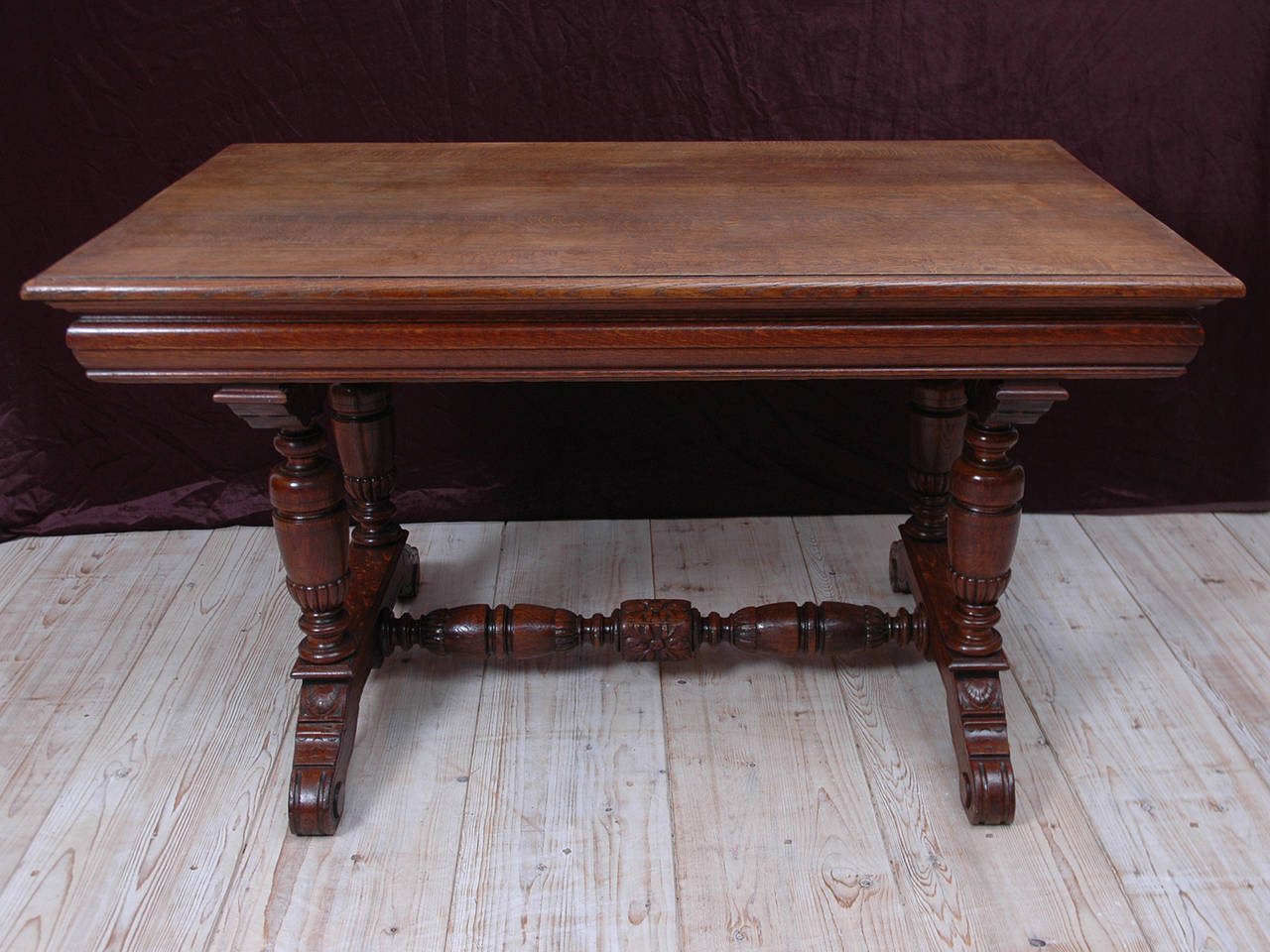 Small Renaissance Style Dining Table or Writing Desk in Oak 2