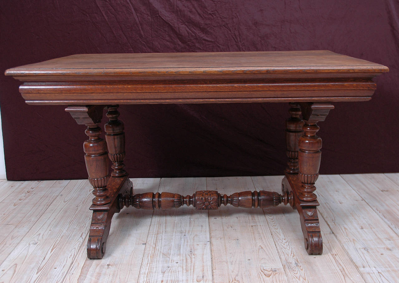Small Renaissance Style Dining Table or Writing Desk in Oak 3