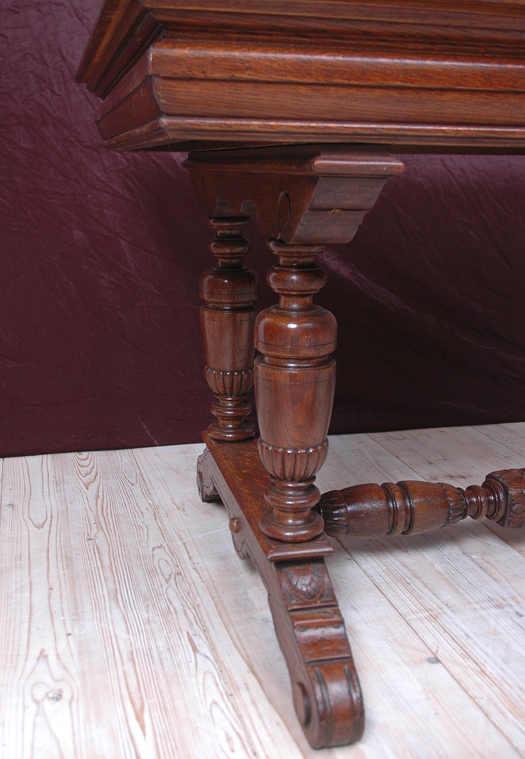 Small Renaissance Style Dining Table or Writing Desk in Oak 7