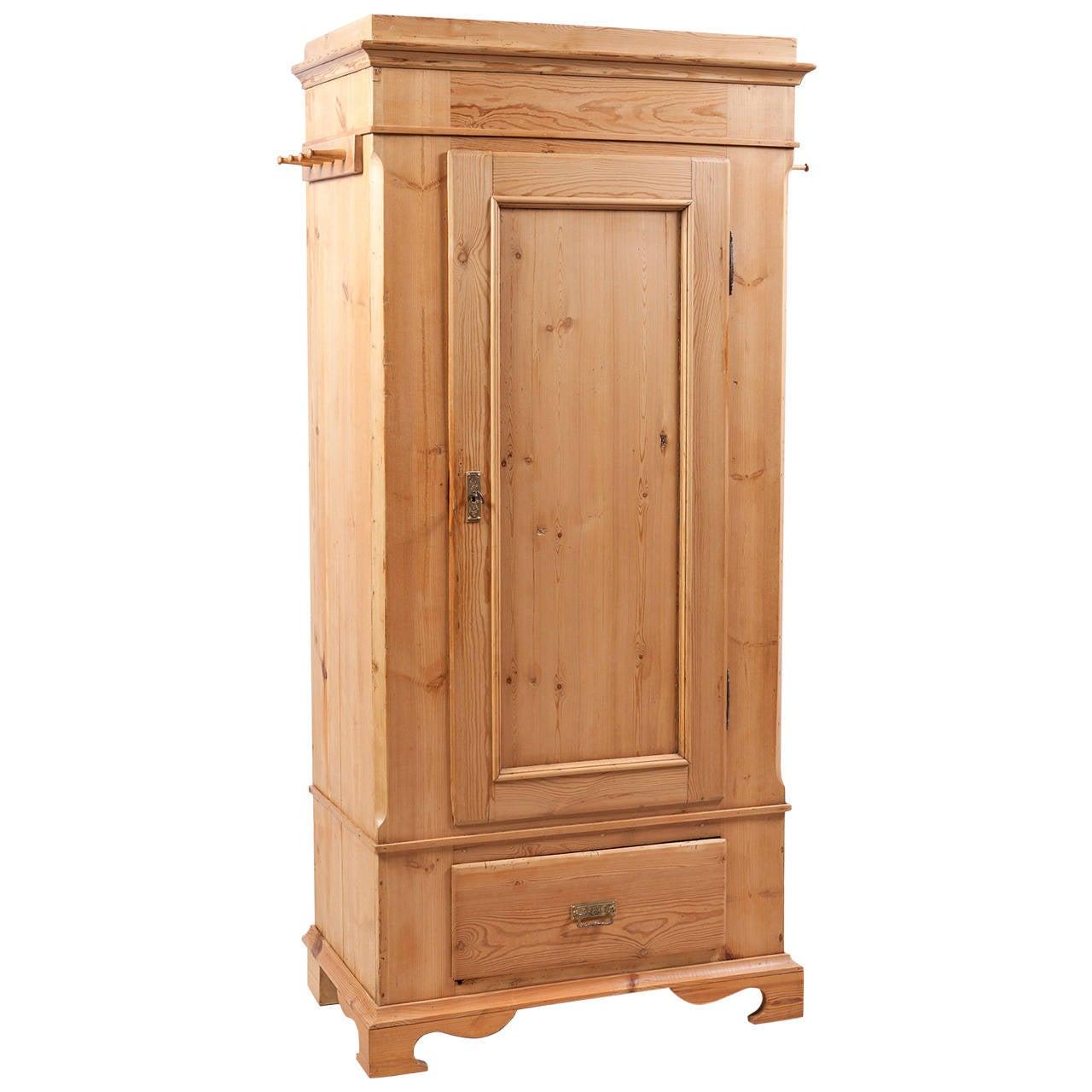 Single Door Danish Wardrobe Armoire In Pine, Circa 1845 1