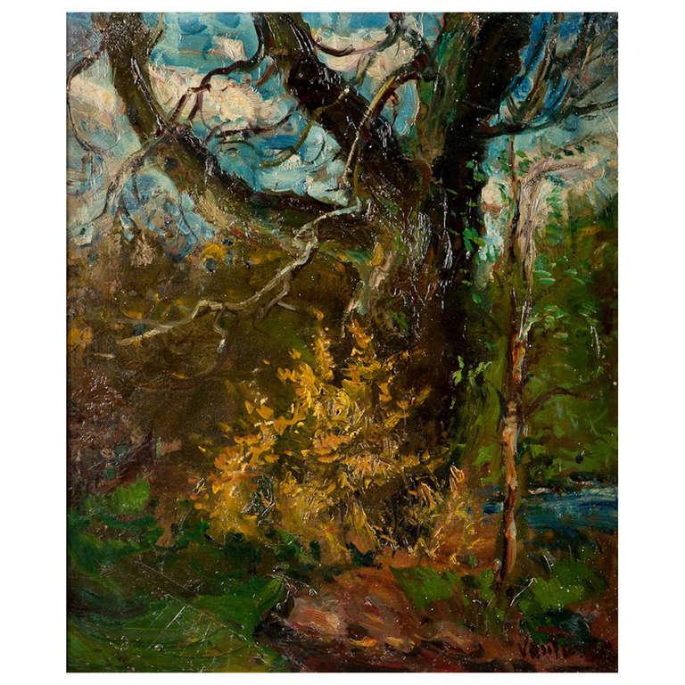 """Forest Landscape"" Oil on Canvas Signed Vantore For Sale"