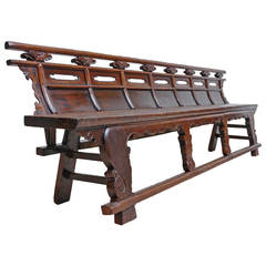 Long Chinese Qing Bench in Elm from the Shanxi province, c.1800