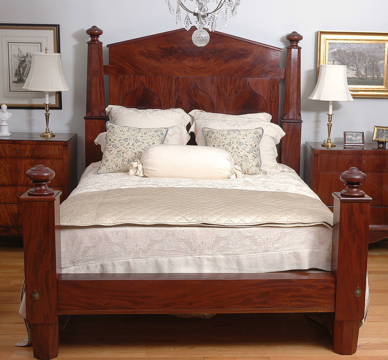 american empire bed in mahogany adapted to queen size c