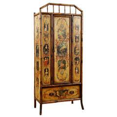 19th Century English Bamboo Wardrobe With Decoupage