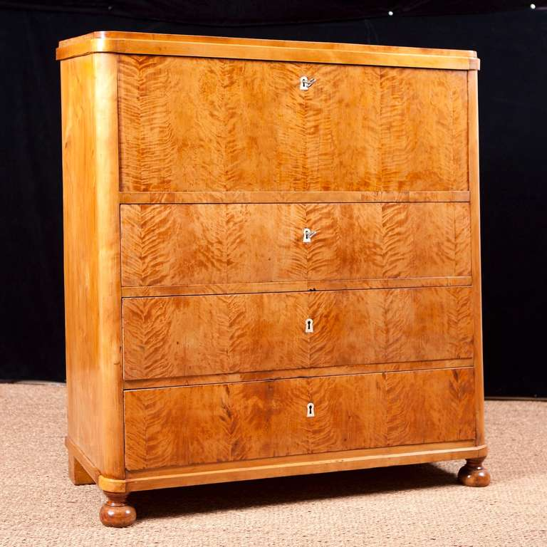 Biedermeier Swedish Karl Johan Chest of drawers With Fall Front Secretary in Fire Birch For Sale