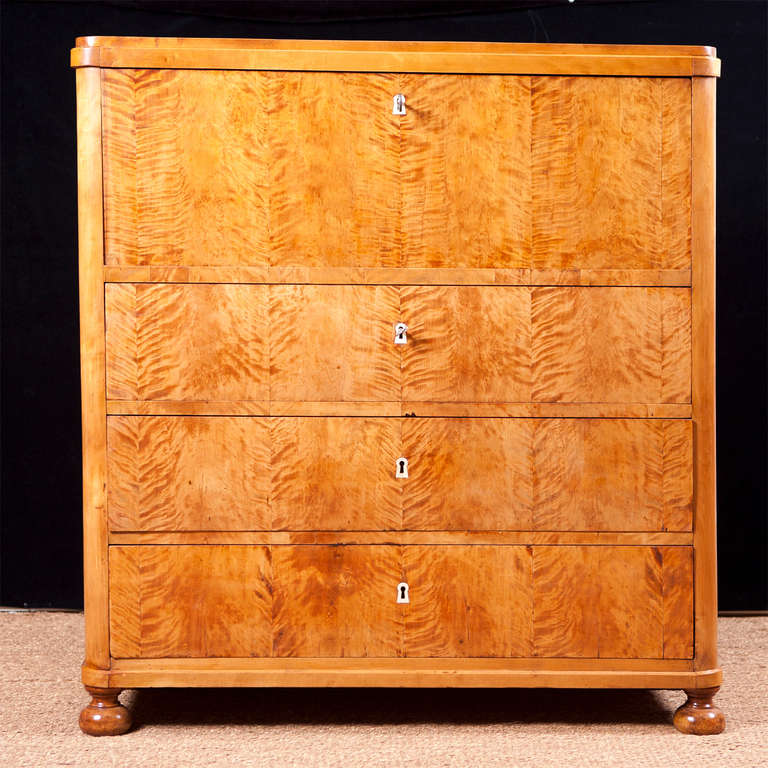 Swedish Karl Johan Chest of drawers With Fall Front Secretary in Fire Birch For Sale 2