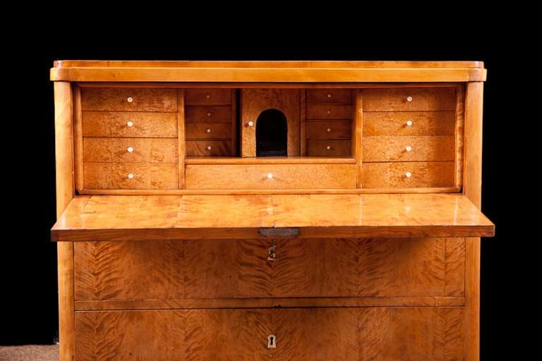 Polished Swedish Karl Johan Chest of drawers With Fall Front Secretary in Fire Birch For Sale