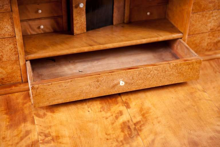 19th Century Swedish Karl Johan Chest of drawers With Fall Front Secretary in Fire Birch For Sale