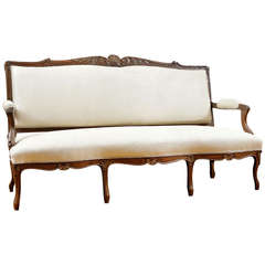 La Belle Époque Louis XV Style Sofa in Carved Walnut, France, circa 1870