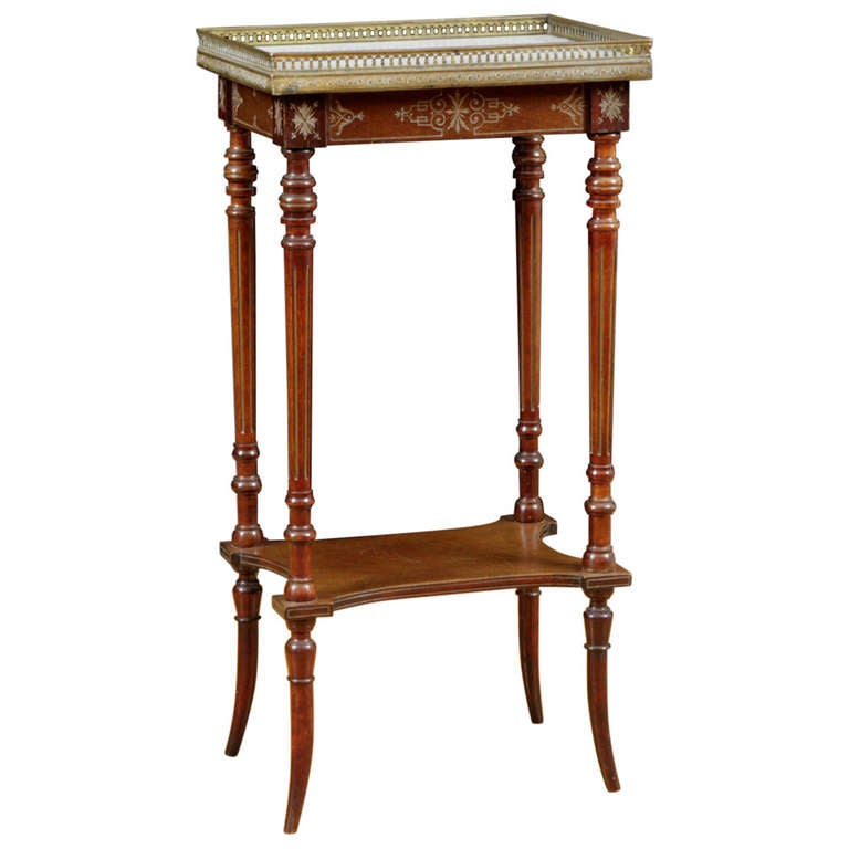 Napoleon III Side Table with Brass Inlay and Gallery, c. 1870