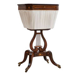 English Regency Lyre Base Sewing Table with Basket, circa 1820