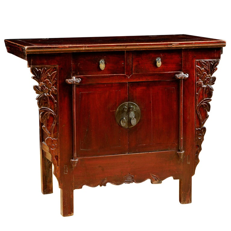 Chinese Qing Cinnabar Red Cabinet with Carved Peonies, circa 1800 For Sale