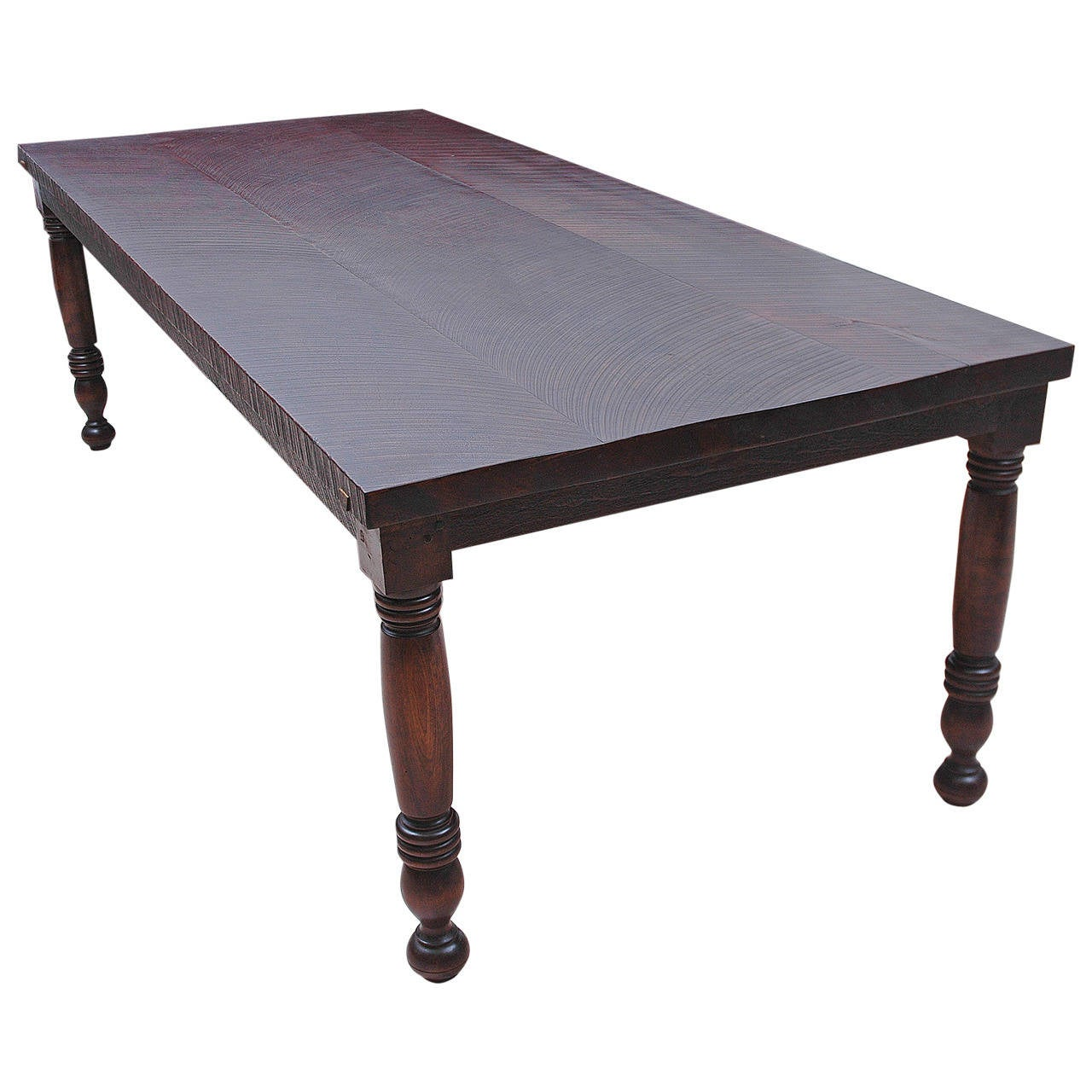 Long Dining Tables For Sale: Long Vintage Farm House Dining Table In Reclaimed Black