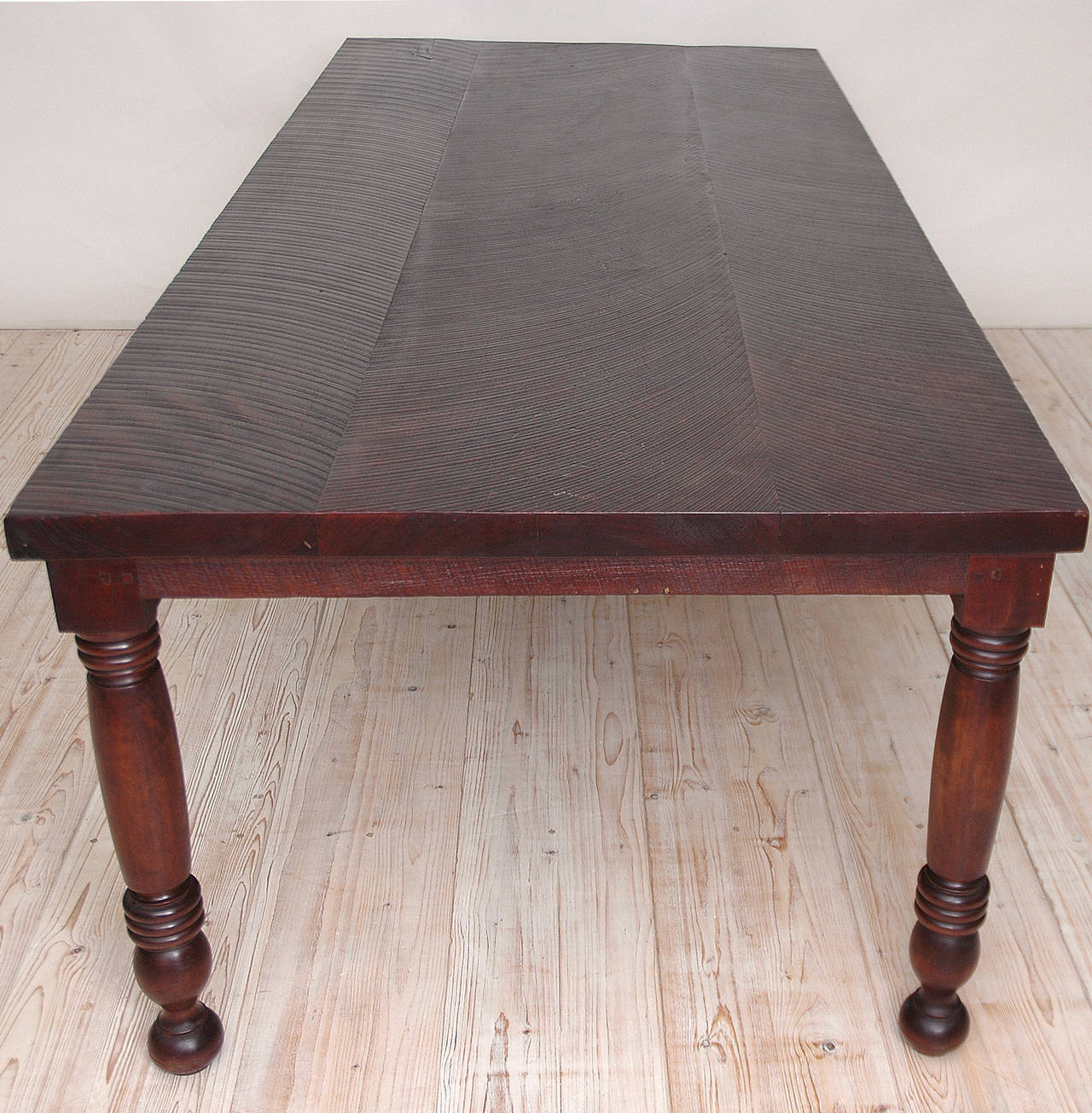 Long Vintage Farm House Dining Table in Black Walnut at 1stdibs