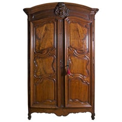 18th Century Period Louis XV French Lyonnaise Armoire in Figured Walnut