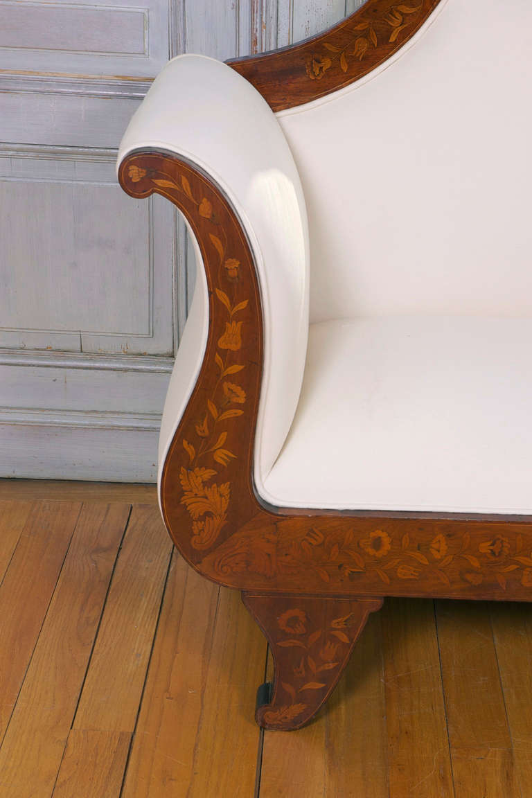 Inlay Dutch Marquetry Empire Settee, circa 1825 For Sale
