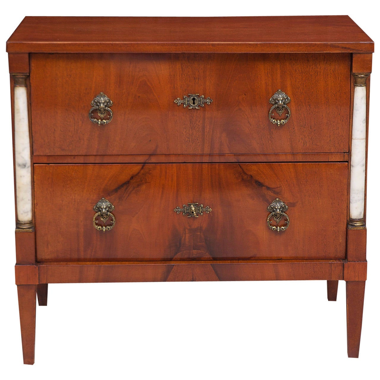 Small 2 Drawer Empire Chest of Drawers in Mahogany with Marble Columns, c. 1790