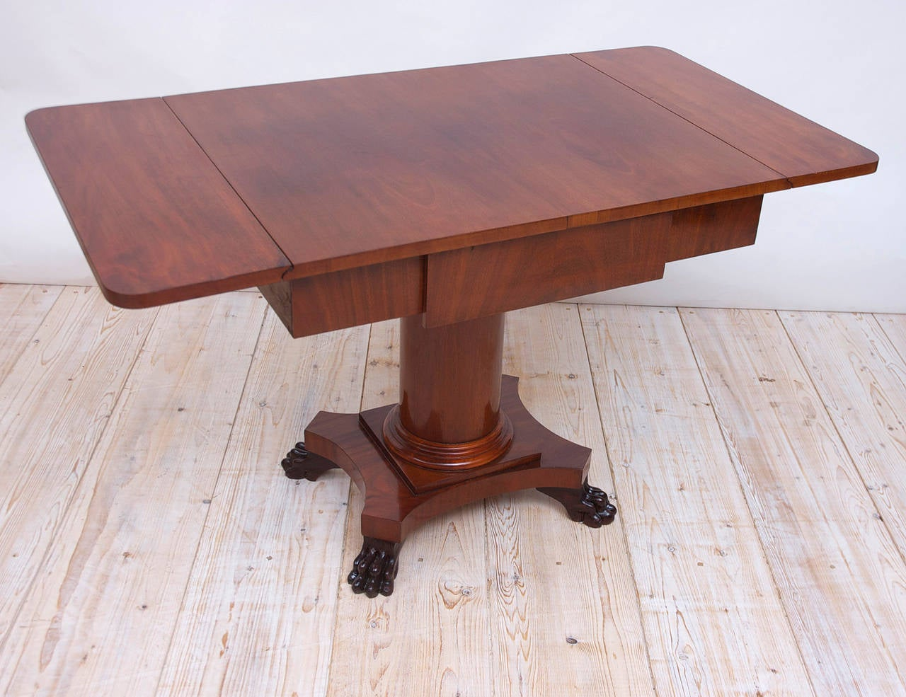 Polished Biedermeier Writing Desk or Sofa Table in Mahogany, Sweden, circa 1840 For Sale