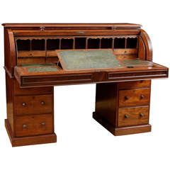 English Pedestal Desk in Mahogany with Cylinder Top. c. 1850