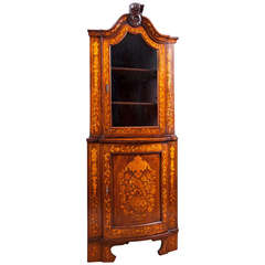 Dutch Corner Cabinet in Mahogany with Marquetry, circa 1800