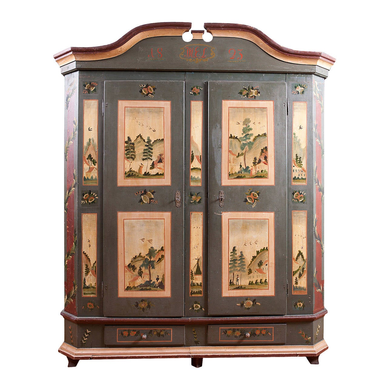 Exceptional Antique Painted Marriage Armoire From Alsace Lorraine In Original Paint