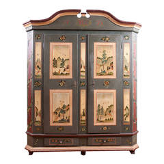 Marriage or Dower Armoire from Alsace-Lorraine in Original Paint, dated 1823