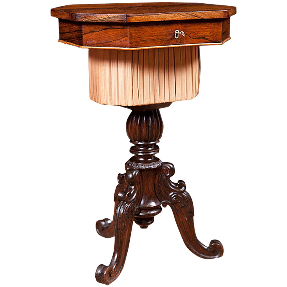 Great Small 19th Century Rosewood End Table On Carved Tripod Base With Marquetry 1