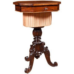 Small 19th Century Rosewood End Table on Carved Tripod Base with Marquetry