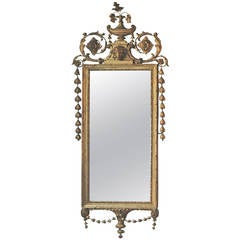 English Adams Style Carved and Gilded  Mirror, c. 1800